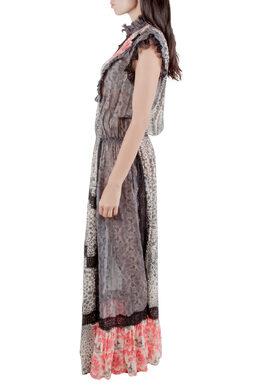 Amen Multicolor Silk and Lace Trim Multiprint Maxi Dress M 212474