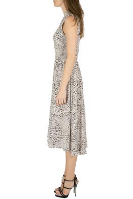 Rebecca Taylor Pale Pink Silk Animal Print Ruched Midi Dress M 212448
