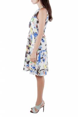 Jil Sander Multicolor Abstract Print Cotton Sleeveless Flared Dress XS 212308