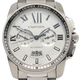 Cartier White Calibre De Cartier Open Stainless Steel Back Case Chronograph Men'S Watch 42MM 213212