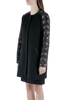 Rebecca Taylor Black Boucle Mid Length Zip Front Coat M