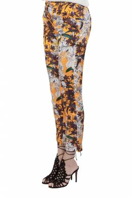 MSGM Orange Floral Print Sateen Relaxed Fit Tapered Trousers S 212592