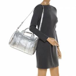 Alexander Wang Silver Pebbled Leather Rocco Duffel Bag 212299