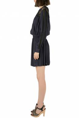 Sea Navy Blue Crepe Lace Cut Out Detail Dress S 212604