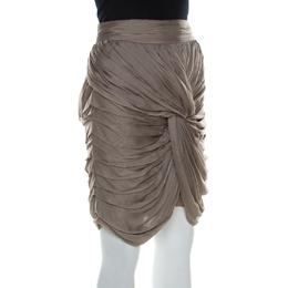 Burberry Prorsum Taupe Knotted Silk Chiffon Skirt S 211600