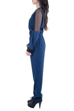 Jonathan Simkhai Navy Blue Silk Long Sleeve Mesh Panel Jumpsuit S 212632