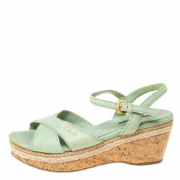 Prada Green Leather Ankle Strap Platform Espadrille Sandals Size 36 Prada Sport 212452