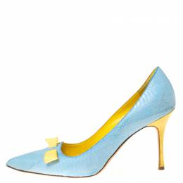 Manolo Blahnik Blue Python Leather Bow Pointed Toe Pumps Size 37