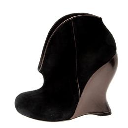 Bottega Veneta Black Suede Wedge Ankle Boots Size 35.5 211182