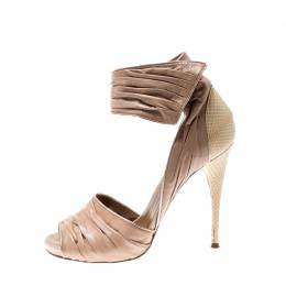 Chloe Beige Leather Ankle Cuff Sandals Size 39.5 211986