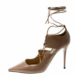 Jimmy Choo Beige Leather Hoops Lace Up Pumps Size 39.5 211989