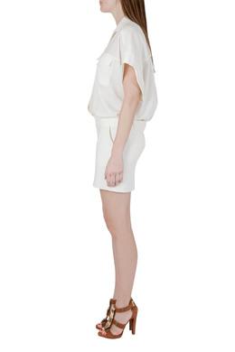 Iro Cream Stretch Crepe Helea Combo Dress M 212530