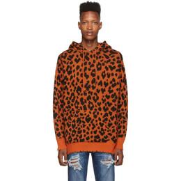 R13 Orange Leopard Hoodie R13W3647-10