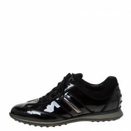 Tod's Black Patent Leather Lace Up Sneakers Size 38.5 213287