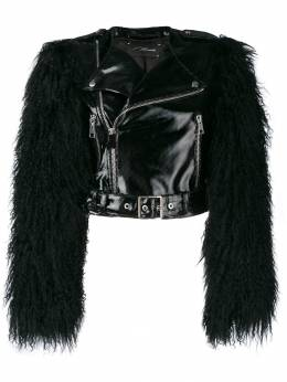 Manokhi байкерская куртка с отделкой из меха MANO199FURJACKETA994