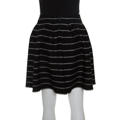 Alaia Monochrome Embossed Jacquard Knit High Waist Mini Skirt M 151012 - 2