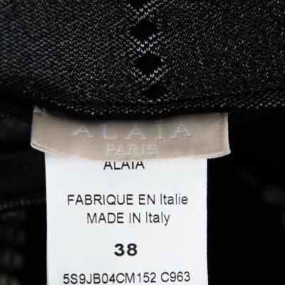 Alaia Monochrome Embossed Jacquard Knit High Waist Mini Skirt M 151012 - 4