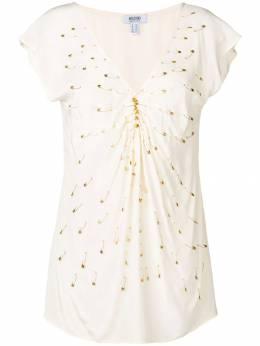 Moschino Pre-Owned декорированная блузка 2000-х MSC180AE