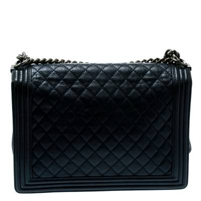 Chanel Navy Blue Quilted Leather Large Boy Flap Bag 181339 - 3
