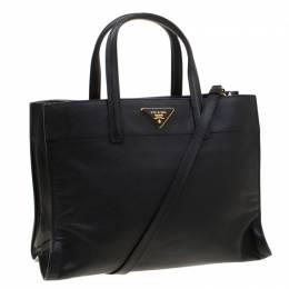 Prada Black Leather Top Handle Bag 297976