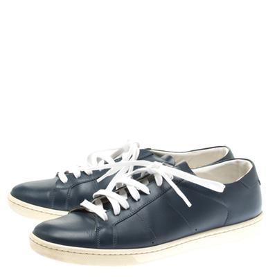 Saint Laurent Blue Leather Low Top Sneakers Size 39 183799 - 3