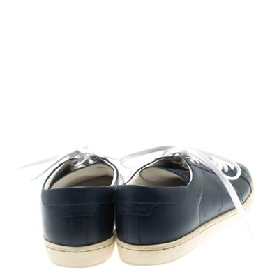 Saint Laurent Blue Leather Low Top Sneakers Size 39 183799 - 4