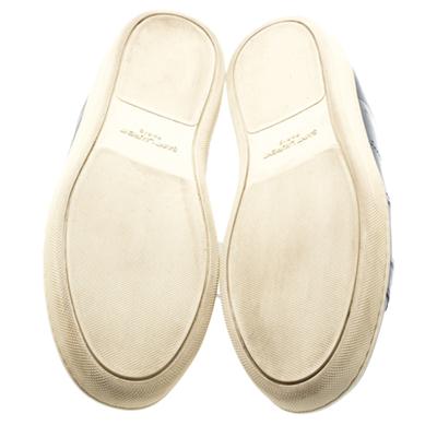 Saint Laurent Blue Leather Low Top Sneakers Size 39 183799 - 5