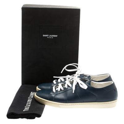 Saint Laurent Blue Leather Low Top Sneakers Size 39 183799 - 7