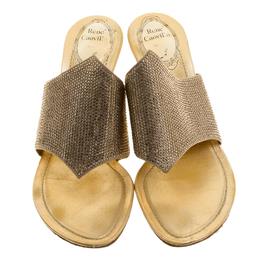 Rene Caovilla Gold Crystal Embellished Satin Slides Size 38 137025