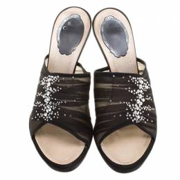 Rene Caovilla Black Chiffon Crystal Embellished Slides Size 38 136981