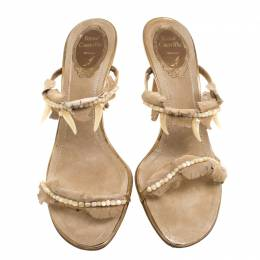 Rene Caovilla Beige Embellished Suede Slides Size 38.5 112614