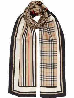 Burberry кашемировый шарф с узором в клетку и полоску с монограммами 8011951