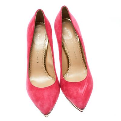 Charlotte Olympia Pink Suede Dotty Platform Pumps Size 39.5 - 2