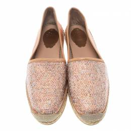 Rene Caovilla Peach Pink Canvas and Crystal Embellished Satin Espadrille Size 41 149599