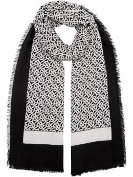 Burberry легкий кашемировый шарф с принтом 8011871