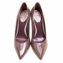 Rene Caovilla Taupe Leather Pointed Toe Pumps Size 38.5 169963