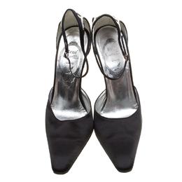 Rene Caovilla Black Satin Crystal Embellished Pointed Toe Ankle Strap Sandals Size 38 198330