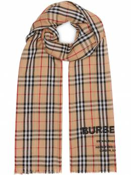 Burberry легкий кашемировый шарф в клетку Vintage Check с вышивкой 8009293