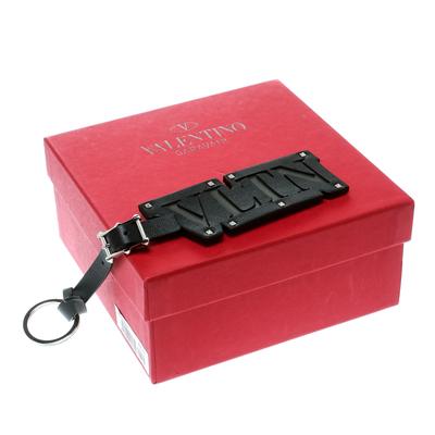 Valentino VLTN Black Leather Silver Tone Key Ring / Bag Charm 175758 - 4