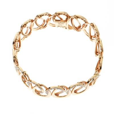 Montblanc Princesse Grace de Monaco Petal Intertwined Diamond 18k Rose Gold Bracelet 175810 - 3