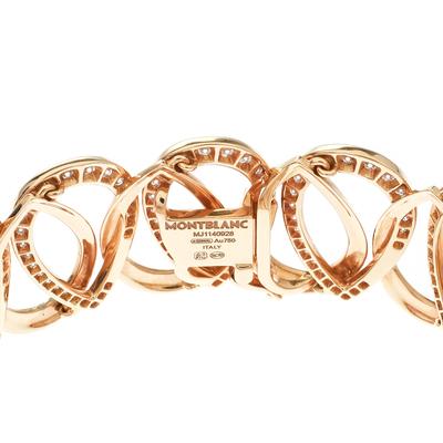 Montblanc Princesse Grace de Monaco Petal Intertwined Diamond 18k Rose Gold Bracelet 175810 - 4