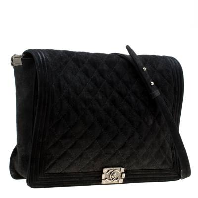 Chanel Black Quilted iridescent Leather XL Gentle Boy Flap Bag 177061 - 2