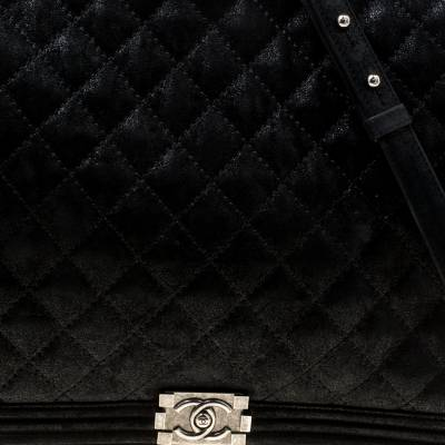 Chanel Black Quilted iridescent Leather XL Gentle Boy Flap Bag 177061 - 4
