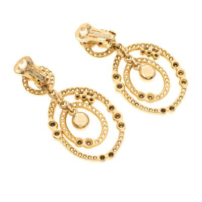 Oscar De La Renta Crystal Gold Tone Dangle Clip-on Earrings 183887 - 2