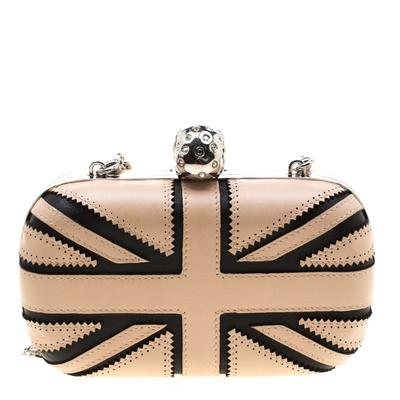 Alexander McQueen Beige/Black Leather Patchwork Britannia Skull Box Clutch 182749 - 3