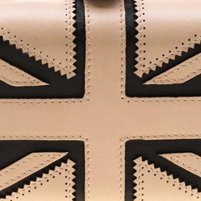 Alexander McQueen Beige/Black Leather Patchwork Britannia Skull Box Clutch 182749 - 4