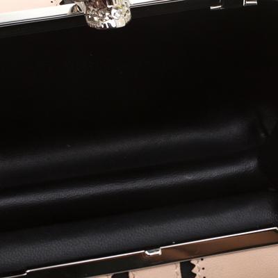 Alexander McQueen Beige/Black Leather Patchwork Britannia Skull Box Clutch 182749 - 6