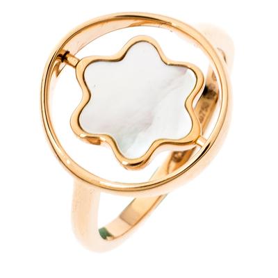 Montblanc Rotating Emblem Mother of Pearl 18k Rose Gold Ring Size 56 201747 - 2