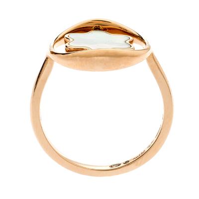 Montblanc Rotating Emblem Mother of Pearl 18k Rose Gold Ring Size 56 201747 - 3