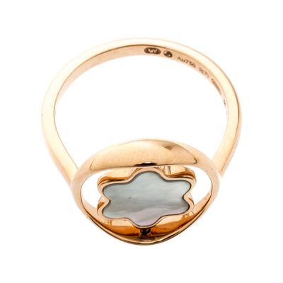 Montblanc Rotating Emblem Mother of Pearl 18k Rose Gold Ring Size 56 201747 - 4